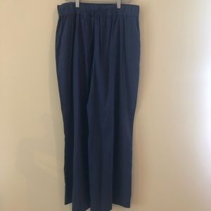 Ann Taylor High Waist Wide Leg Linen Blend Pant